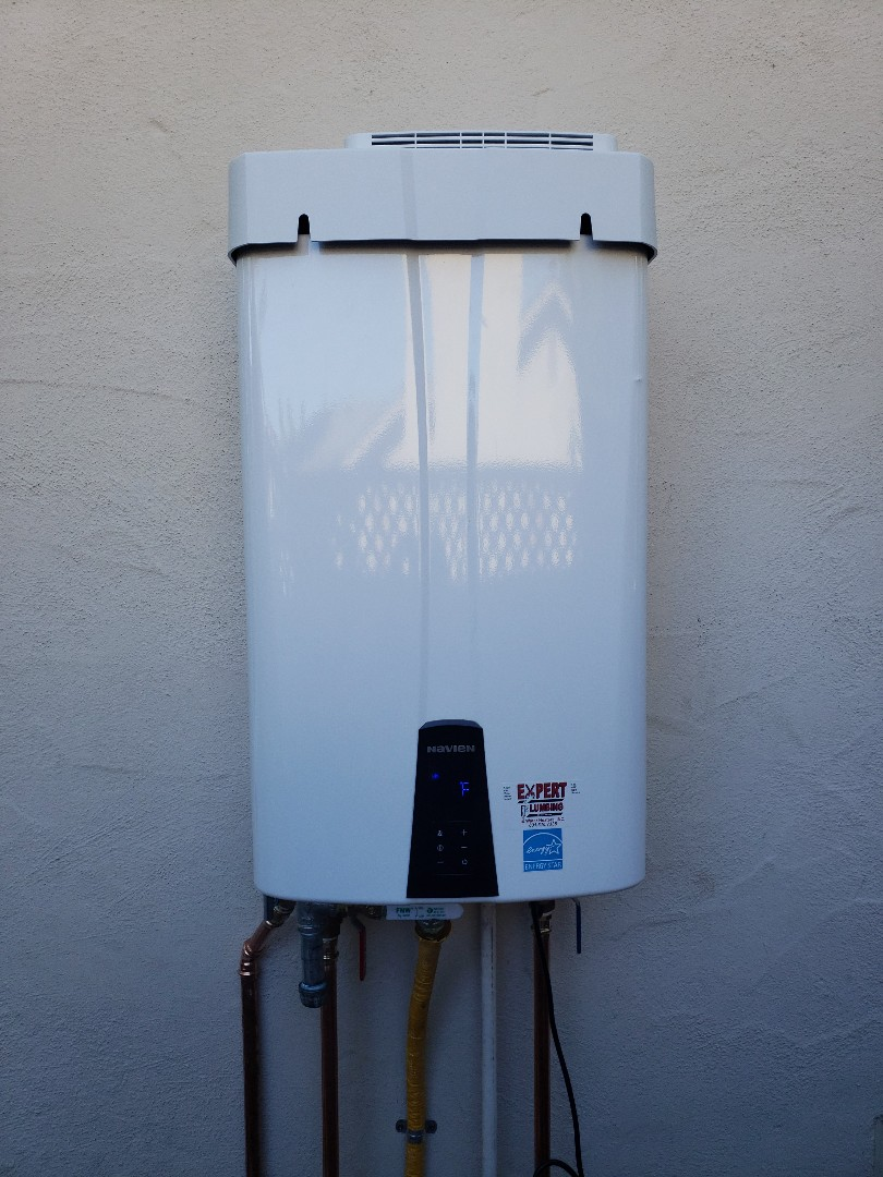 Santa Cruz, CA - New exterior Tankless water heater installation by the experts @ Expert Plumbing.