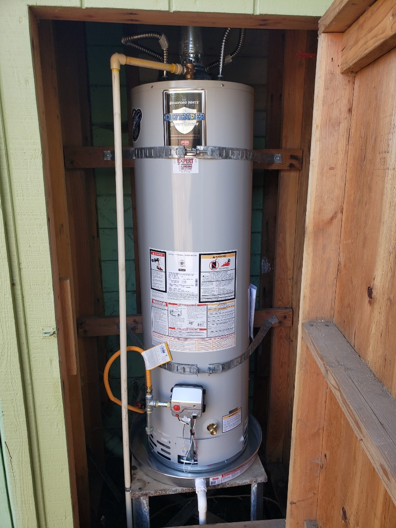 New Water Heater installation by Expert Plumbing.