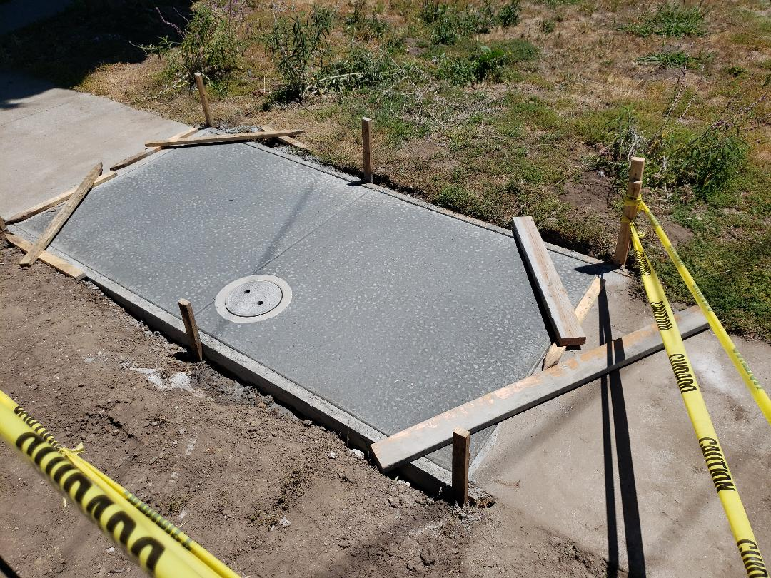 Santa Cruz, CA - New sewer clean out and concrete on city sidewalk.