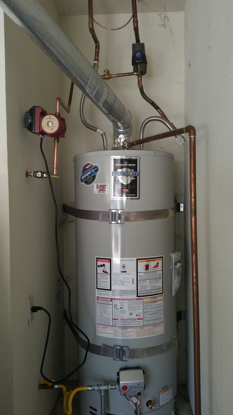 Scotts Valley, CA - Expert Plumbing - Installed new 50 gallons N.gas water heater.  Also installed new hot recirculation pump and timer.