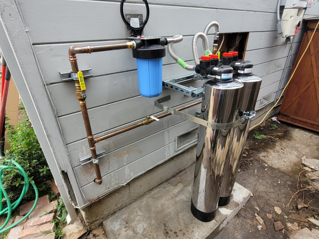 Santa Cruz, CA - New whole house water conditioning system installation by Expert Plumbing