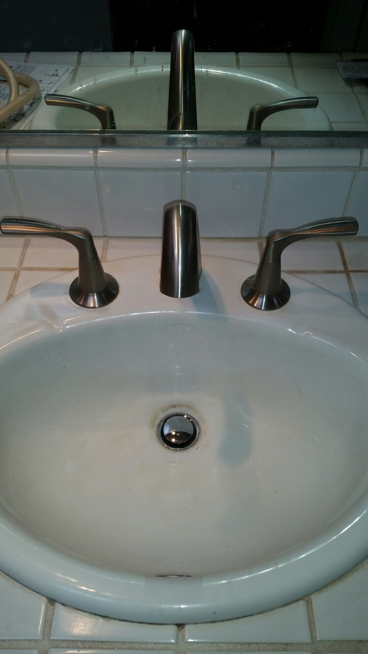 Soquel, CA - Expert plumbing installed customer supplied bathroom faucet. Also installed hot and cold water valves