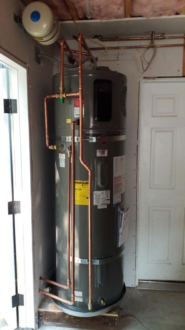 New hybrid water heater installation.