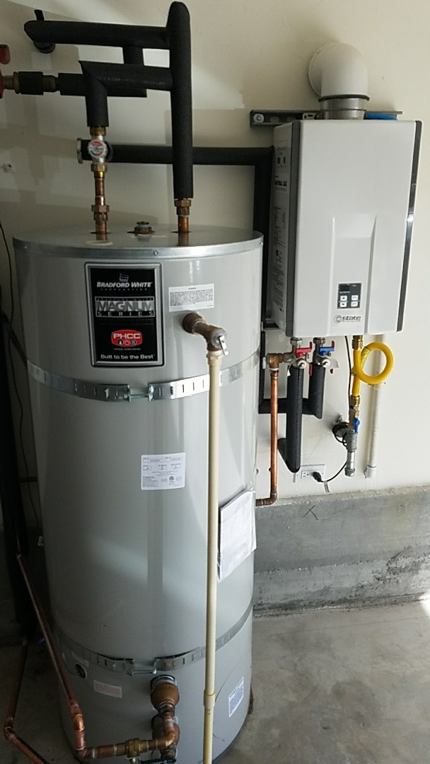 Soquel, CA - Expert Plumbing installed new 80 gallons storage tank, with Tankless water heater.