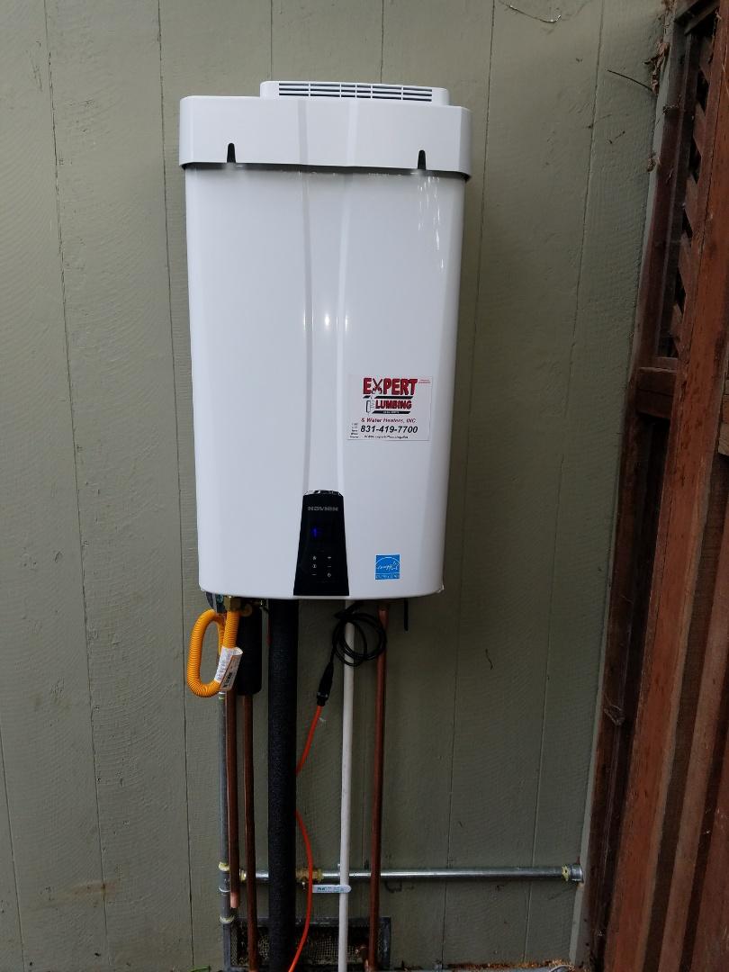 Santa Cruz, CA - New tankless water heater installed by the experts! Wonderful job Expert Plumbing.