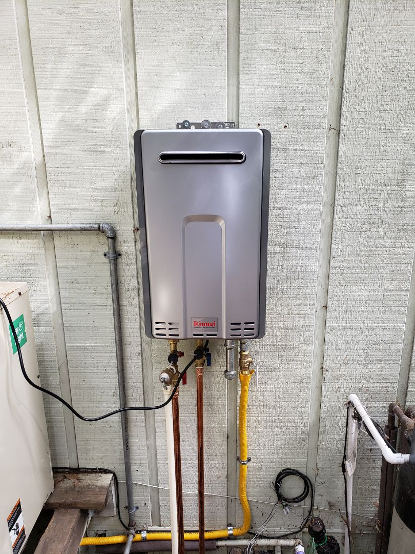 Boulder Creek, CA - Expert Plumbing installed new outdoor Tankless/On Demand hot water heater, replacing 40 gallons.