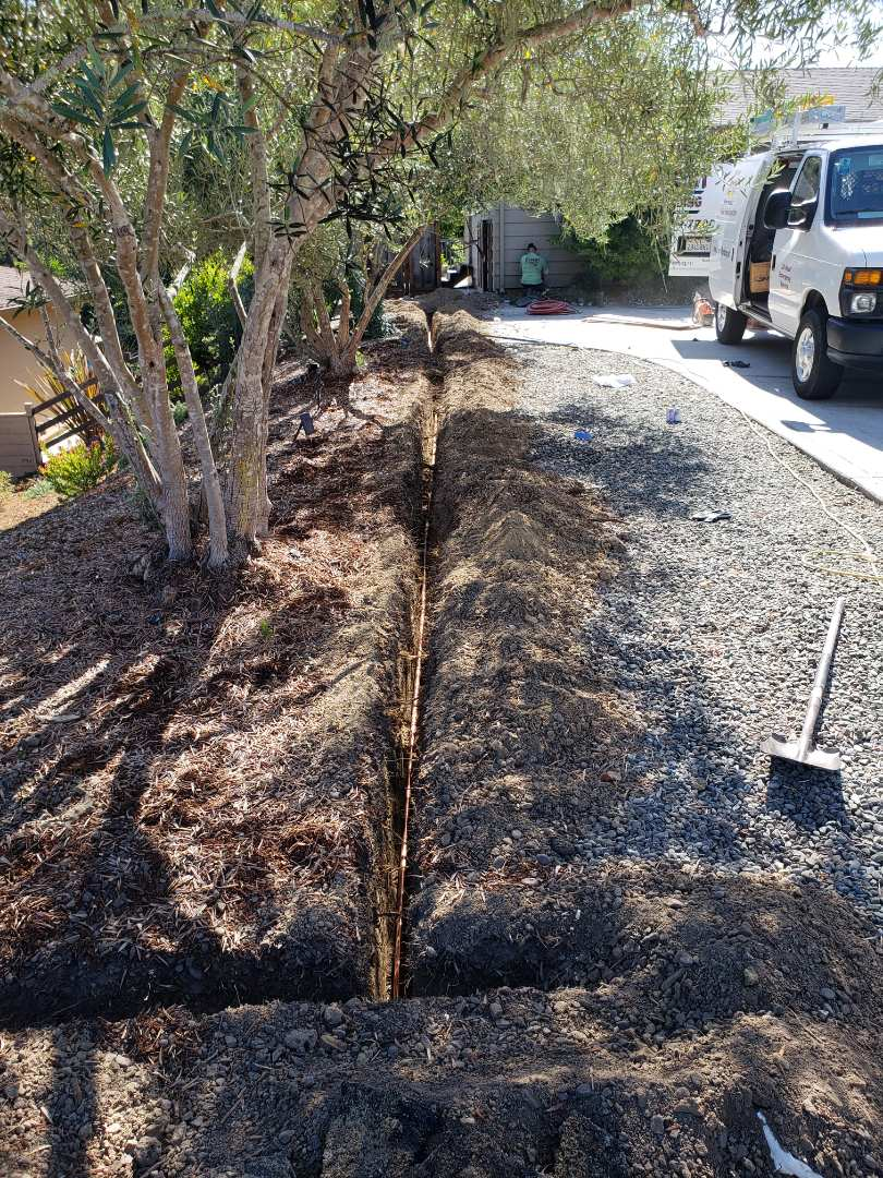 Aptos, CA - Expert Plumbing doing main water service line from water meter to house. Using Copper.