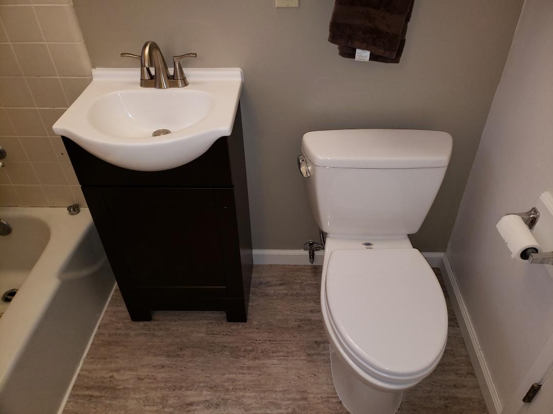 Santa Cruz, CA - Install customer supplied bathroom vanity and toilet. Great job Expert Plumbing