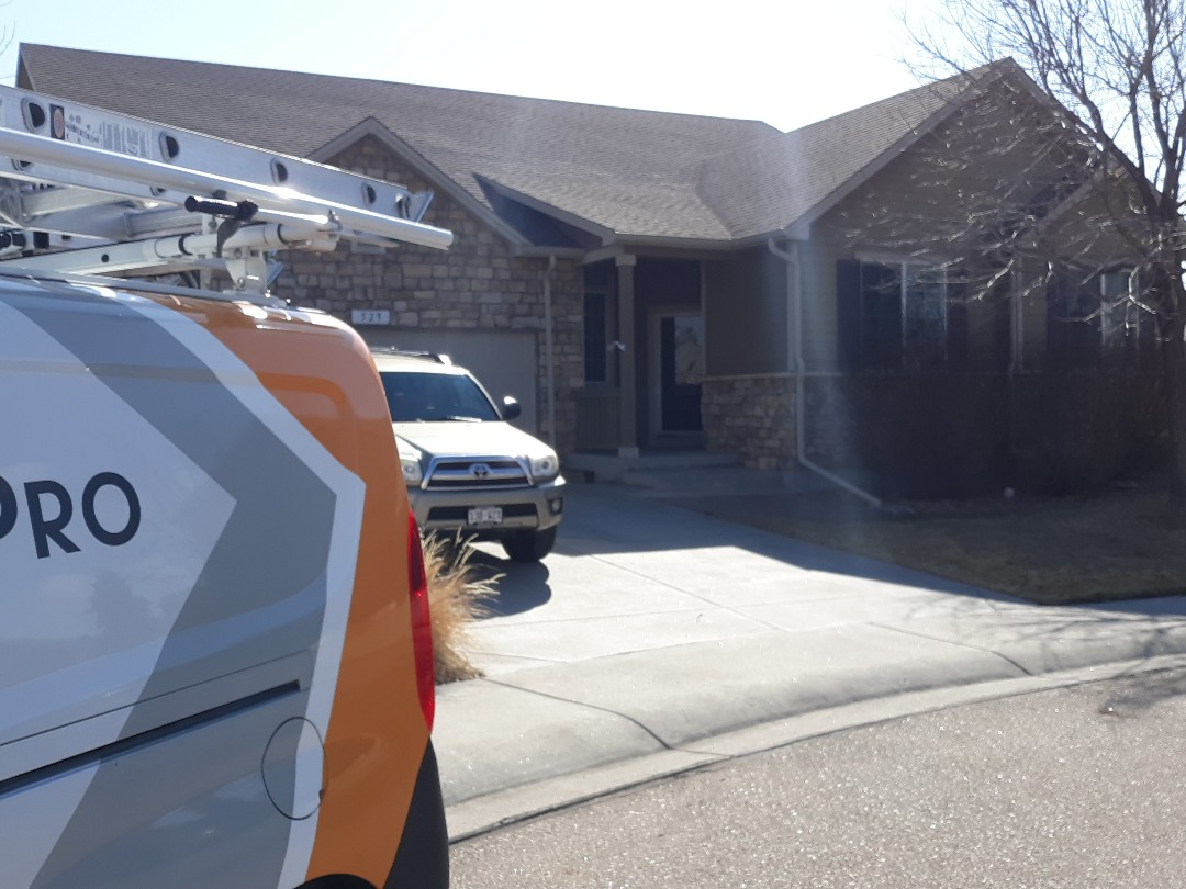 "Windsor, CO - Hail damage asphalt shingle roof replacement and 5"" seamless gutter inspection in Windsor, CO"
