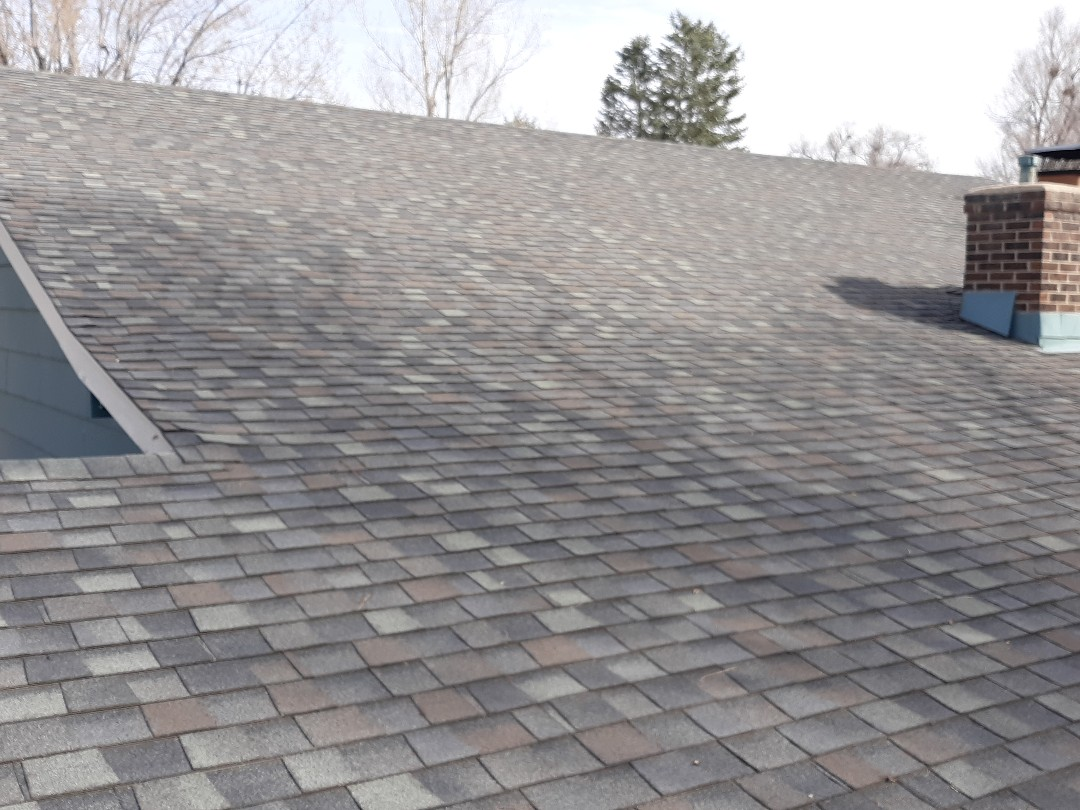 Longmont, CO - Asphalt shingle roof inspection in Longmont, CO reveals advanced craze cracking and hail damage to shingles.  Recommending full replacement of roofing system