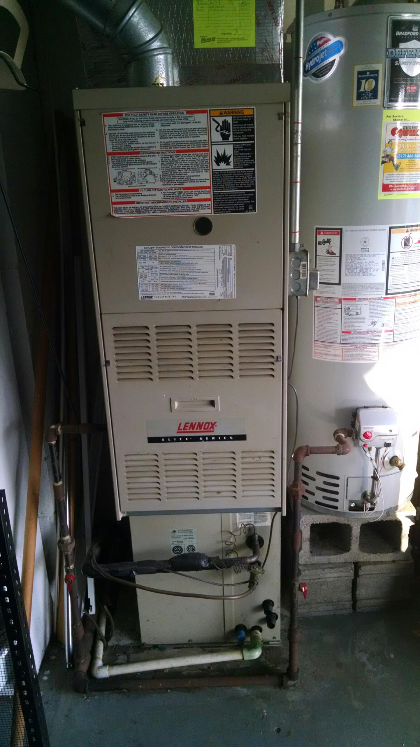 Brownsburg, IN - Lennox furnace, evaporator coil, and air conditioner. Can you tune up an ac in cold weather? You bet!