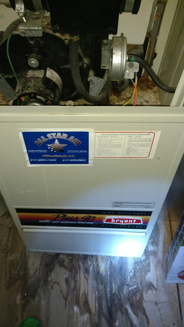 Zionsville, IN - Bryant gas furnace repair replacement