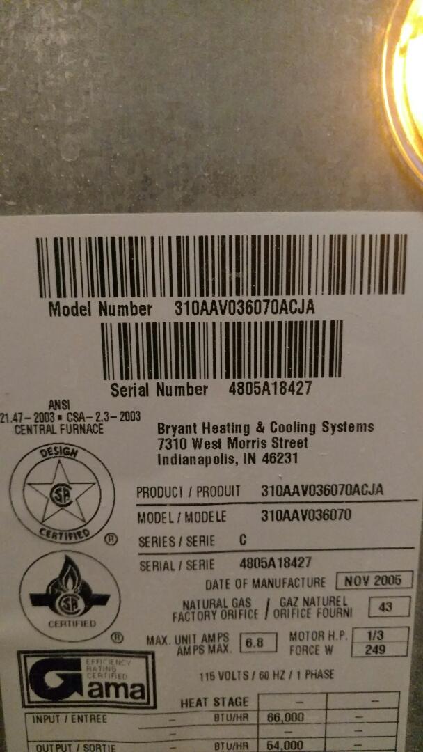 Pendleton, IN - Bryant gas furnace repair
