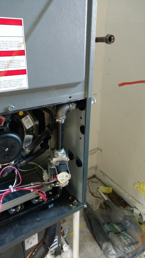 Knightstown, IN - Furnace installation.  Furnace gas piping