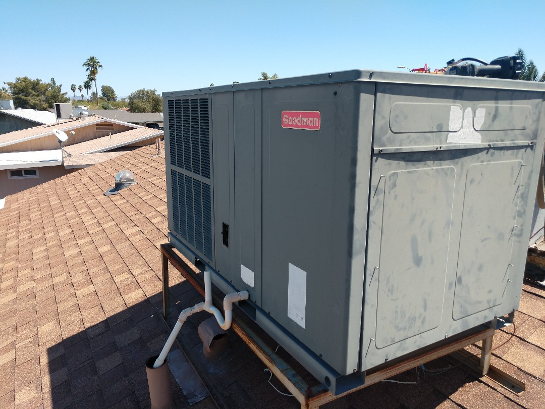 Mesa, AZ - Ac maintenance. Performed ac tune up on Goodman package heat pump