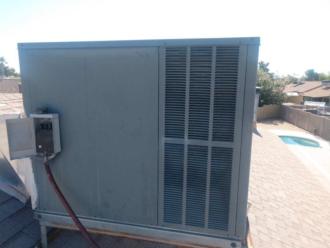 Phoenix, AZ - Ac maintenance. Performed air conditioning inspection on Goodman package heat pump