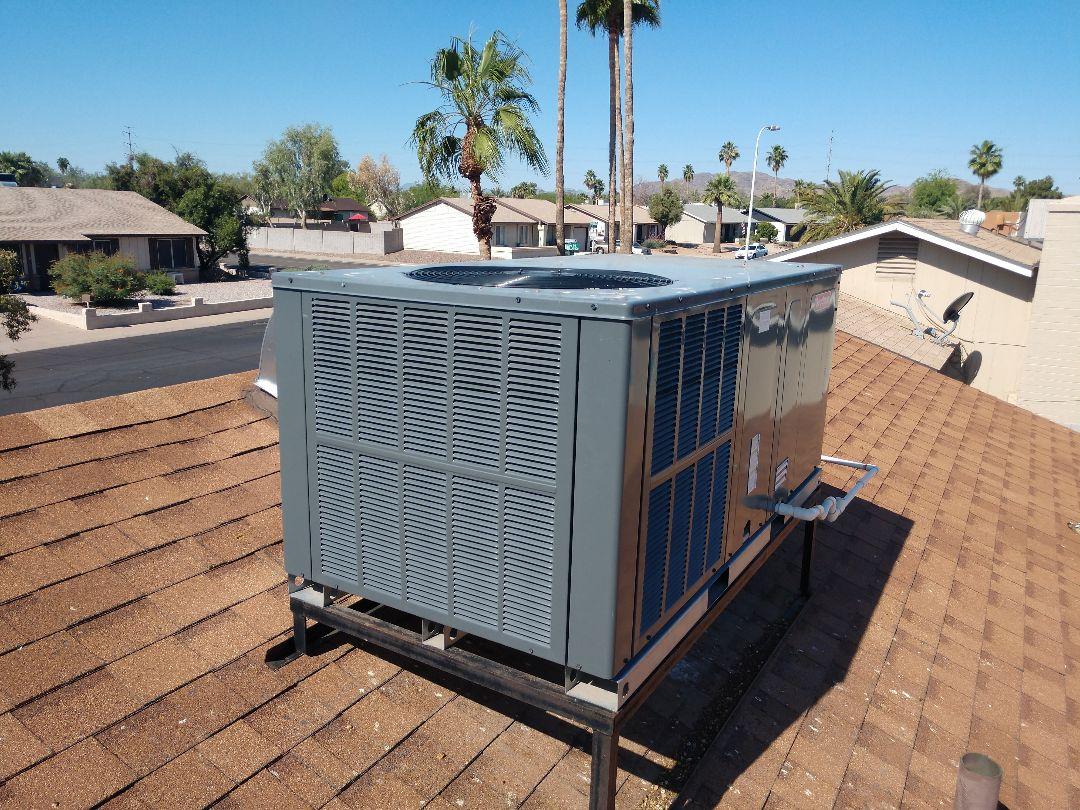 Tempe, AZ - Air conditioning inspection. Performed ac maintenance on Goodman package heat pump