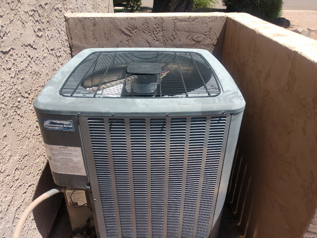 Tempe, AZ - Air conditioning maintenance. Performed ac tune up on Amana heat pump