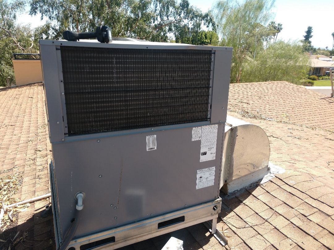 Ac service. Performed air conditioning tune up on day  and night package heat pump