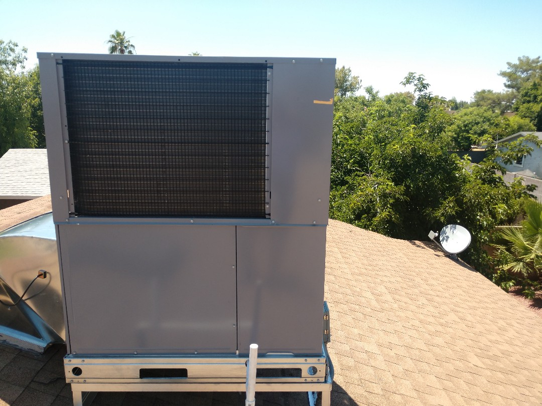 Air conditioning installation. Installed day and night package heat pump