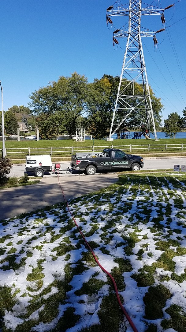 Omaha, NE - Snowed yesterday. Blowing out sprinkler systems