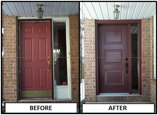 Kanata, ON - Our client is delighted with his new Portatec Entry Door with sidelight in burgundy. What a transformation.