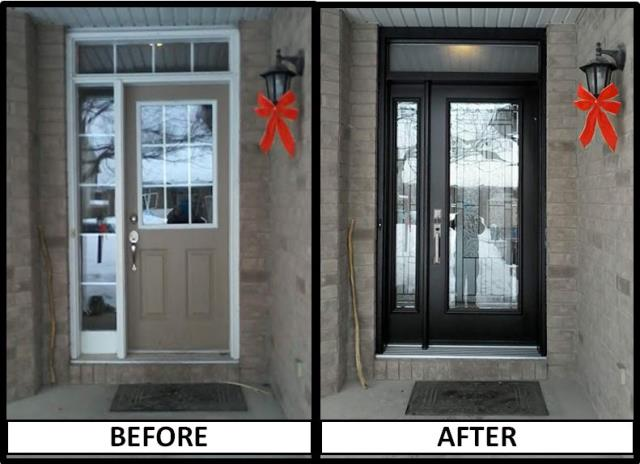 Goulbourn, ON - Another great transformation today right here in Stittsville. Our customer said her new front door with a sidelight and transom in black with Cachet welded stained glass is AMAZING!