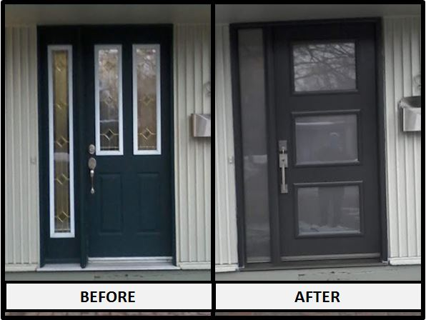 Kanata, ON - A great update to a front door in Kanata today. Our customer described her new Fenplast front door in Iron Ore as 'Spectacular'!