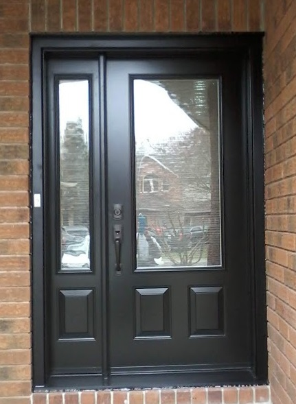 "Kanata, ON - Another pleased customer! We replaced a single entry door with a 34"" Embossed Portatec door and operating sidelite. Beautified fully with St. James glass inserts and finished with oil rubbed bronze ball bearing hinges and black sill crown."