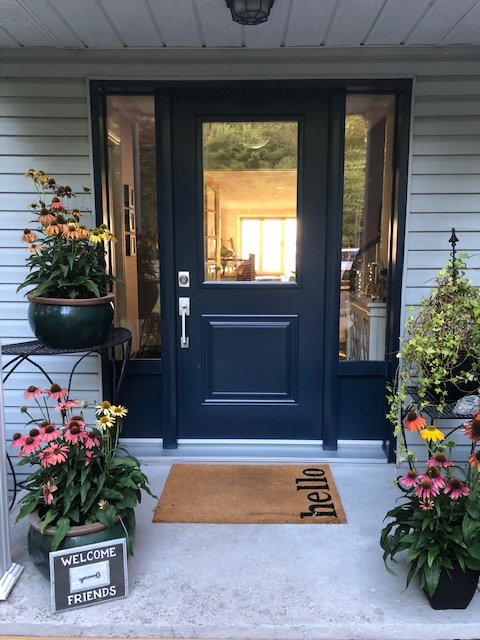 Ottawa, ON - Our customer in Dunrobin is delighted with her new Fenplast entry door in Old World Blue with two sidelights.