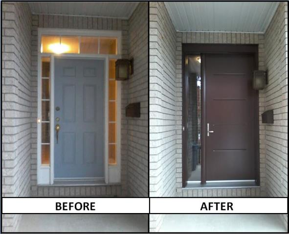 Ottawa, ON - Replacing the old door with a sleek Vog design by Fenplast and simplifying the sidelite configuration has really modernized the look of this home in Ottawa. The colour is Chestnut brown.