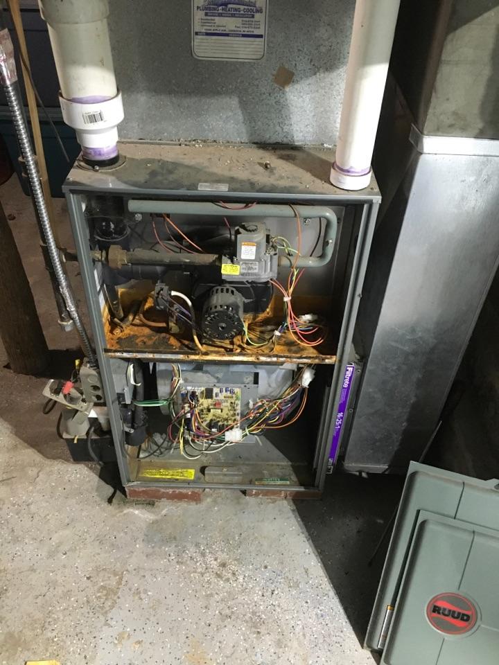 Kent City, MI - Water damage inside furnace.
