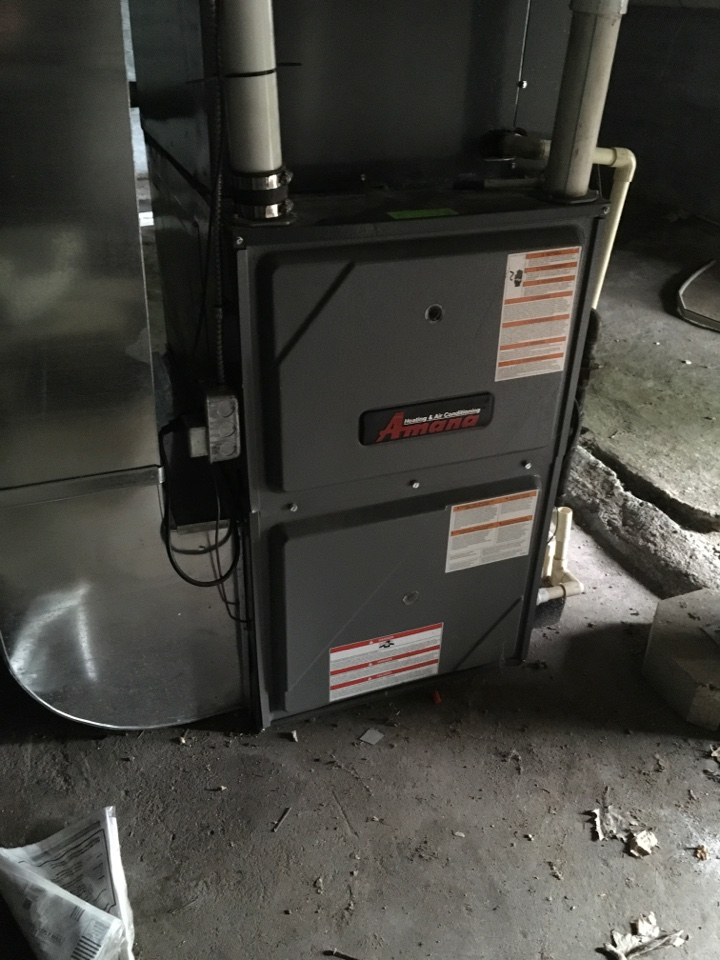 Lakeview, MI - Leaking exhaust fixed on Amana furnace.