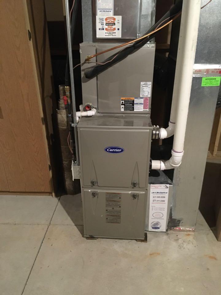 Cedar Springs, MI - Annual heating maintenance check up on carrier furnace.