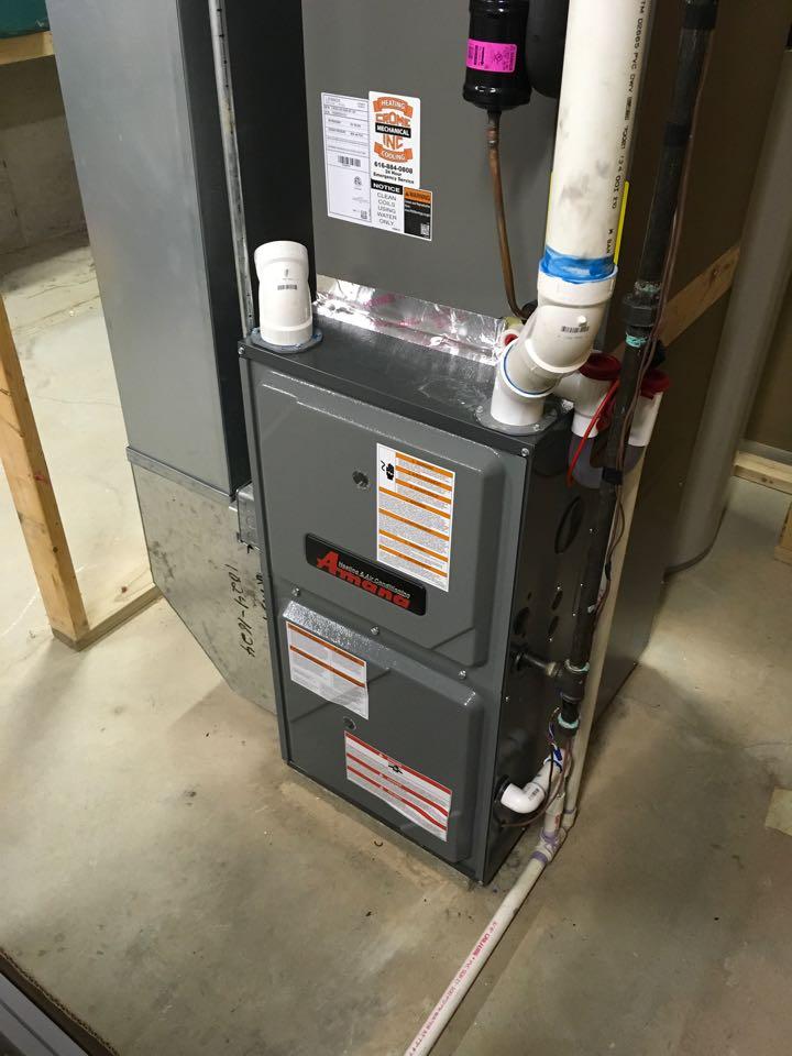 Cedar Springs, MI - Annual heating maintenance on Amana furnace.