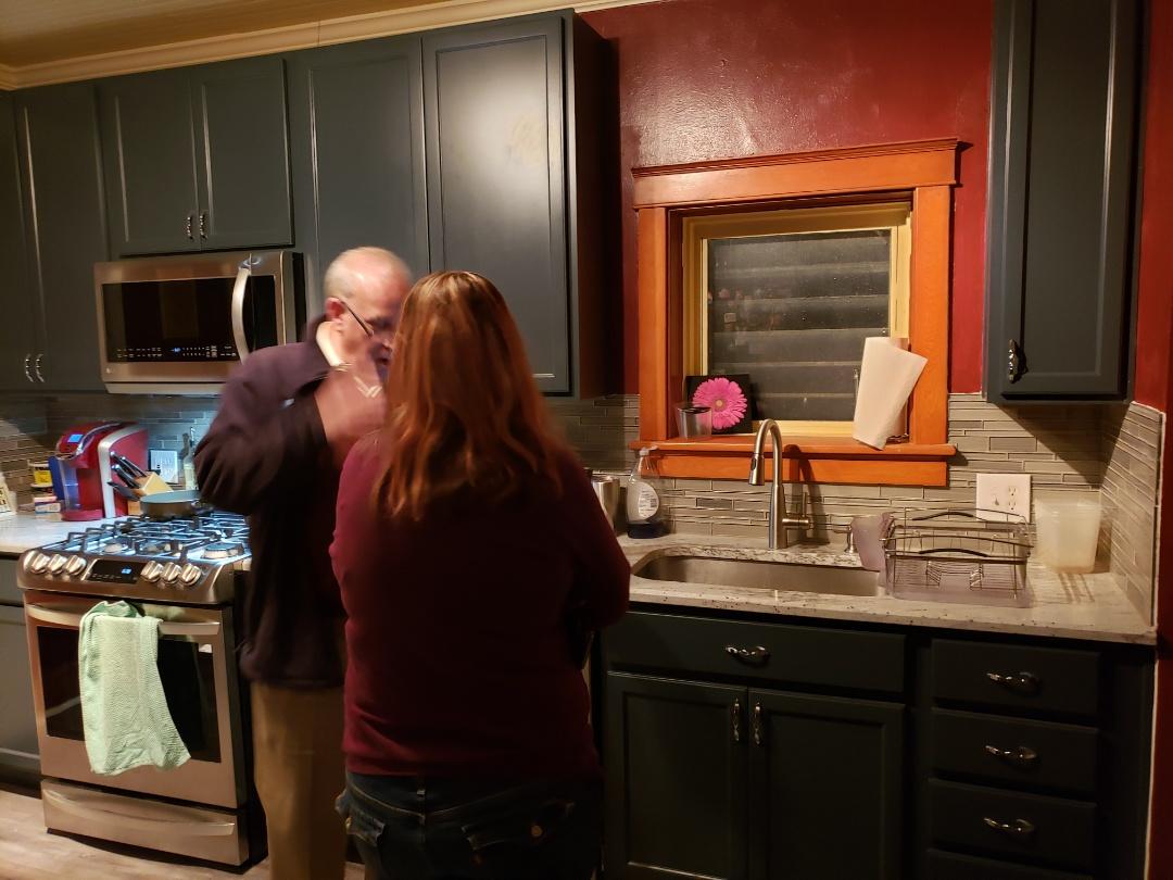 St. Louis, MO - Beautiful new kitchen.   Blue cabinets, granite,  engineered hard wood floors.   Gorgeous!