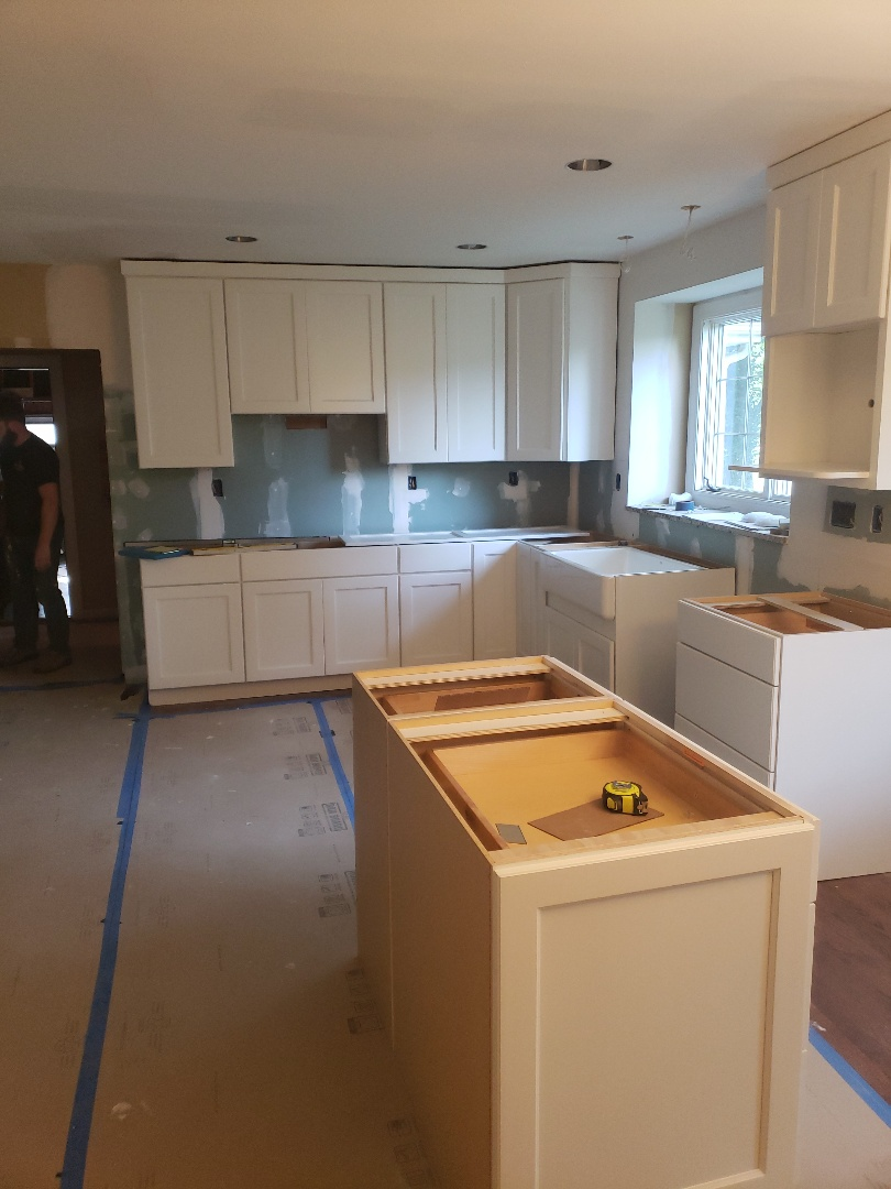 St. Louis, MO - Another beautiful kitchen going in. Waiting on new quartz counter tops to be installed