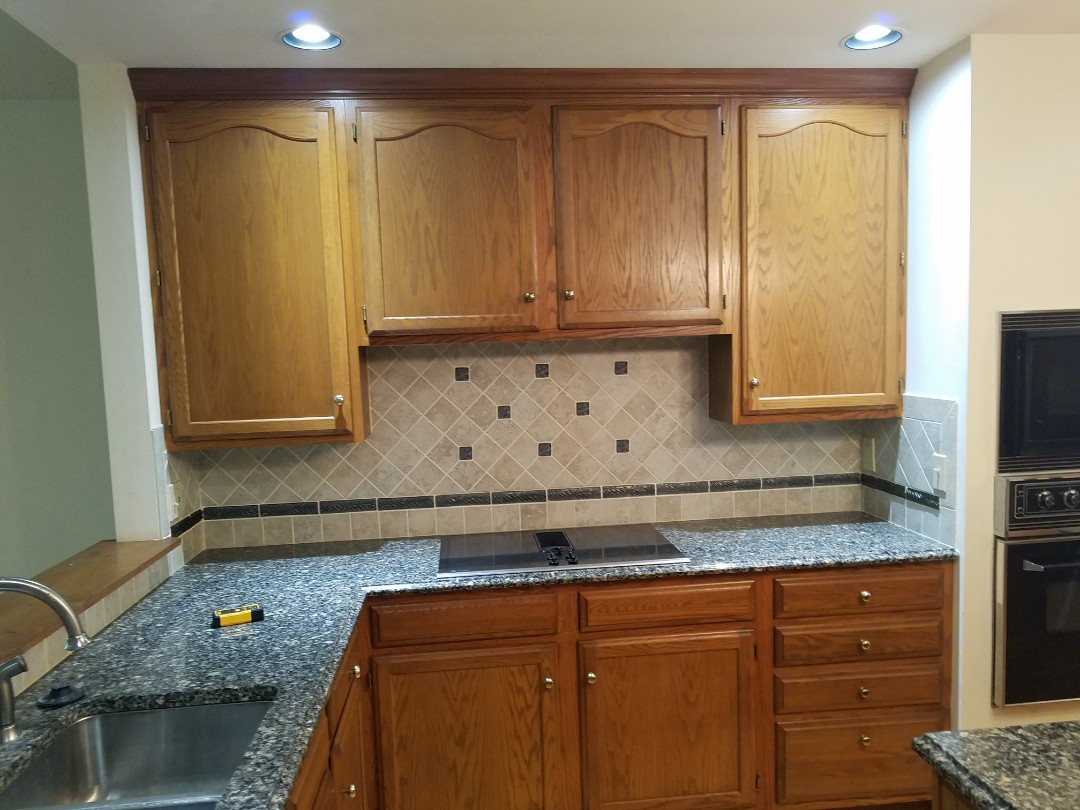 "Ballwin, MO - Kitchen remodel all new fixtures tile backsplash,  42"" cabinets"
