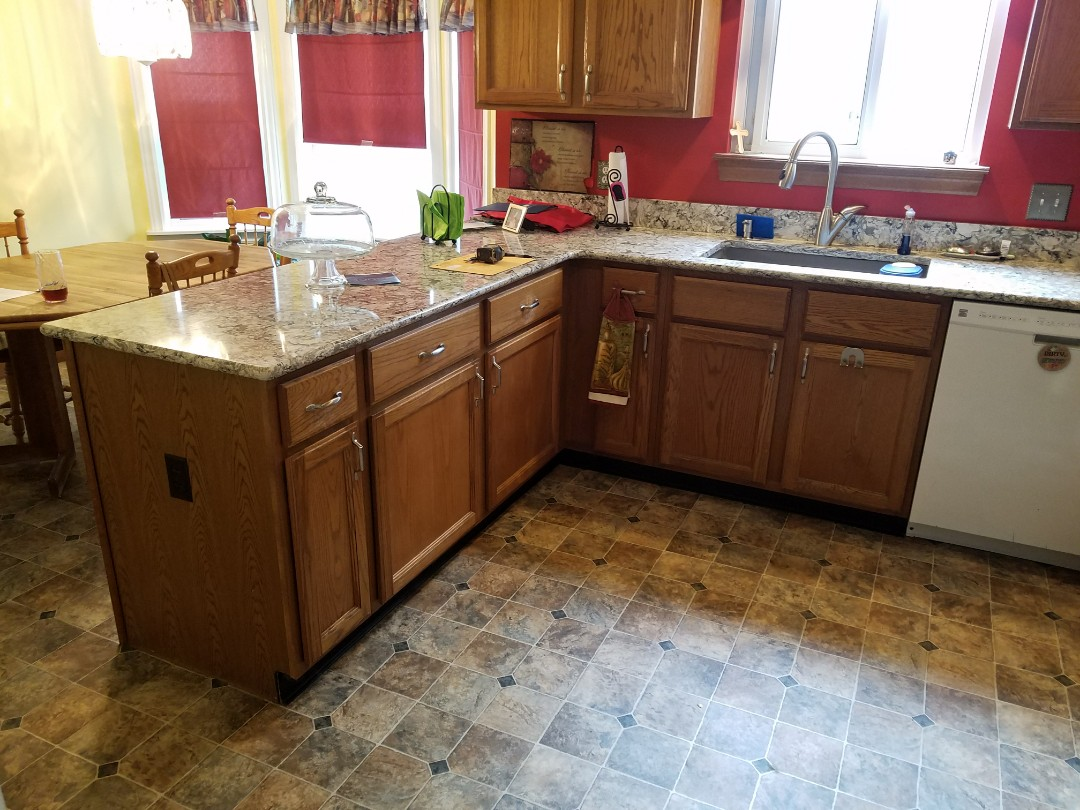 Saint Charles, MO - Kitchen remodel, painting the cabinets, adding crown molding