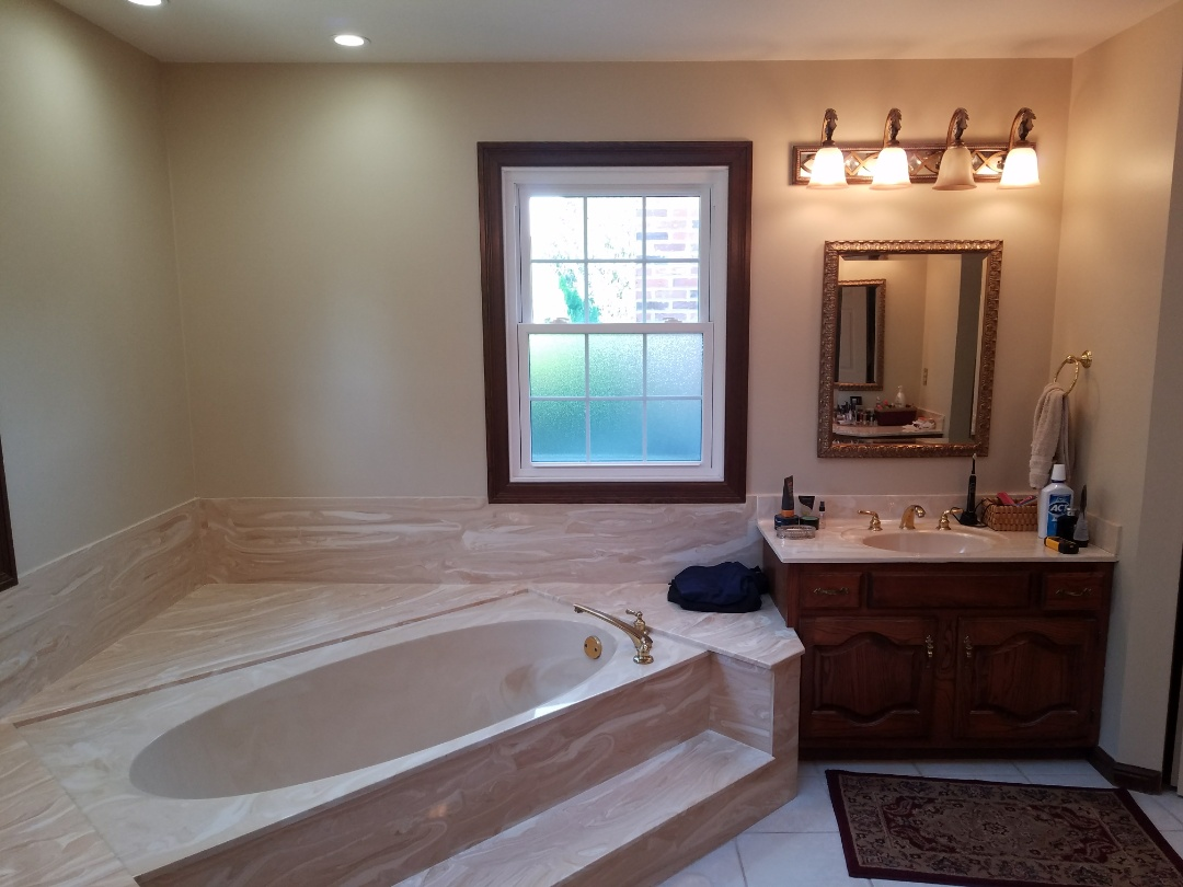 Chesterfield, MO - Bathroom remodel - all new fixtures, tile floor & tile walls, soap dish, free standing tub with a floor mount tub faucet.  Granite countertops and sill.  Gonna be a beauty!