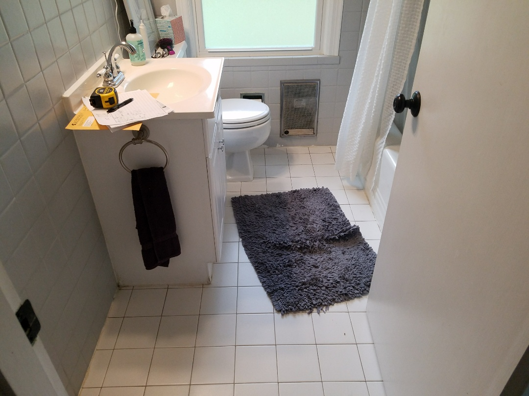Kirkwood, MO - complete bathroom remodel - going to get all new fixtures, tile floor, wainscot and all new drywall.  The new shower is going to be amazing!
