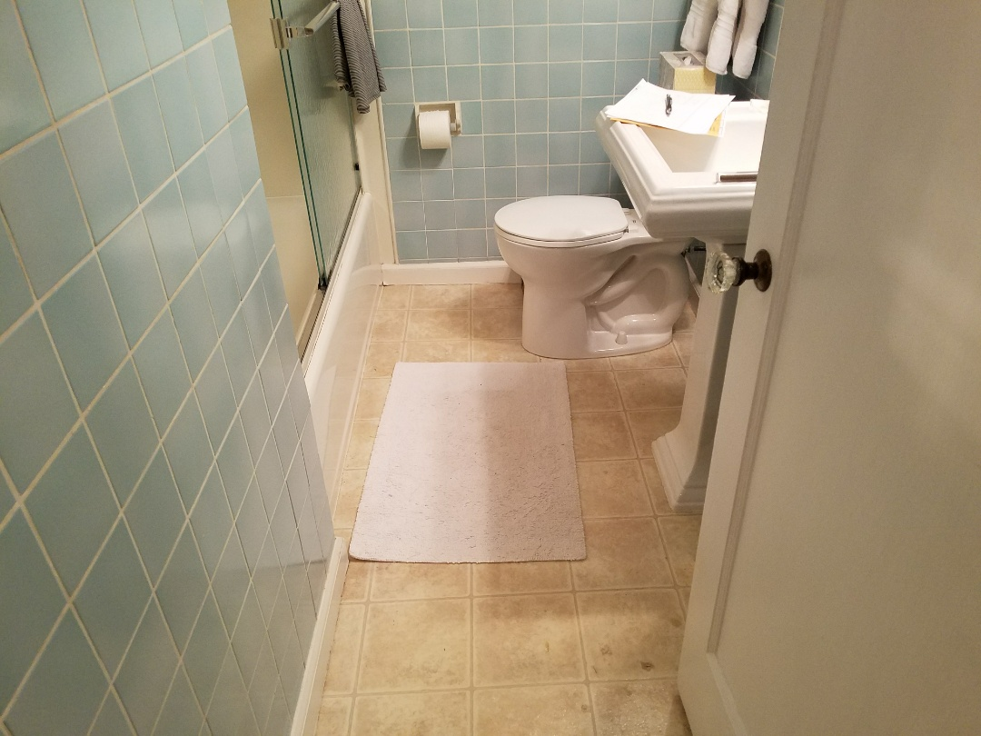 St. Louis, MO - Bath room remodel all new fixtures tile floor tile walls complete gut down to studs new cabinet, mirror