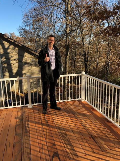 Ballwin, MO - We love thumbs up!  Thanks Bill for allowing us to build you a beautiful Tigerwood deck.  Love the white aluminum handrails!  Enjoy your outside oasis!