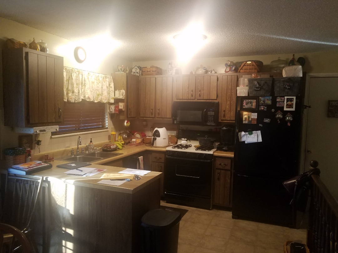 St. Peters, MO - Complete kitchen remodel, new cabinets and granite countertops. Pantries with pullout trays center island