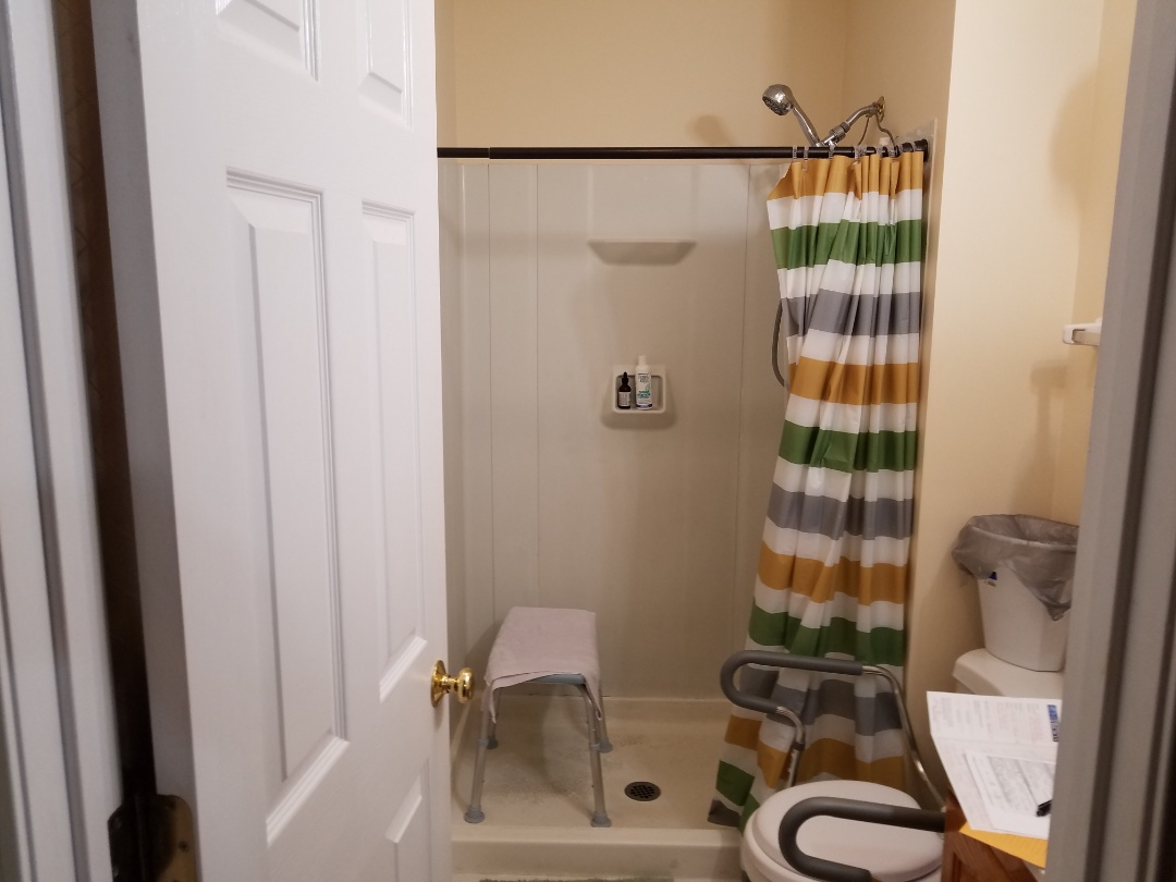 Maryland Heights, MO - Master bathroom,  new onyx shower base and walls . All new Brush Nickle  fixtures