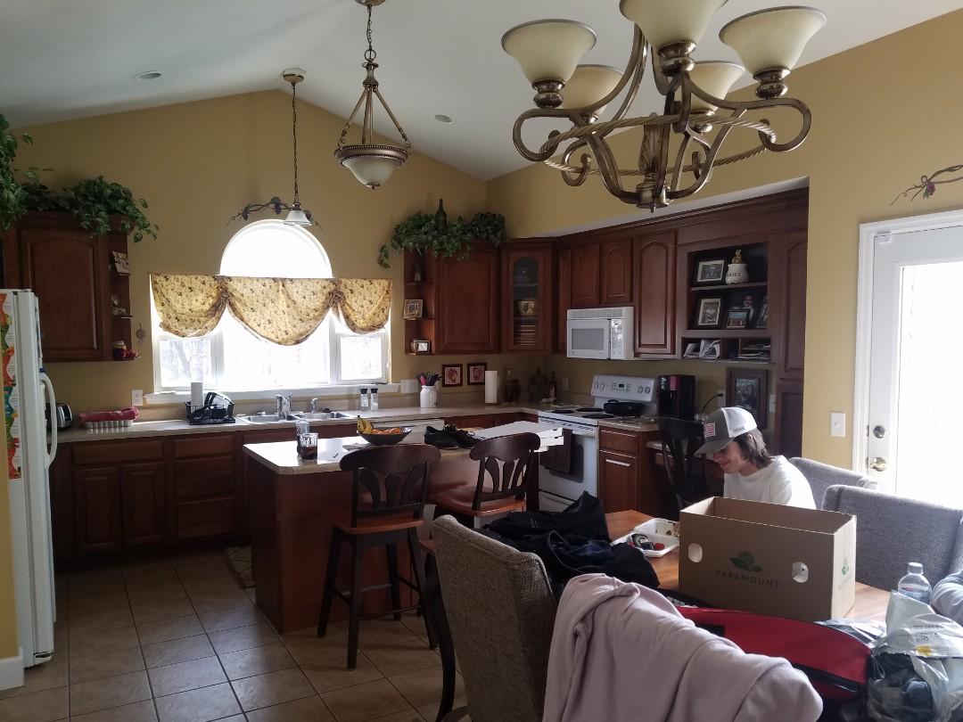 """Wentzville, MO - Kitchen remodel granite countertops island to144 """" x48"""" huge new LVT floor"""