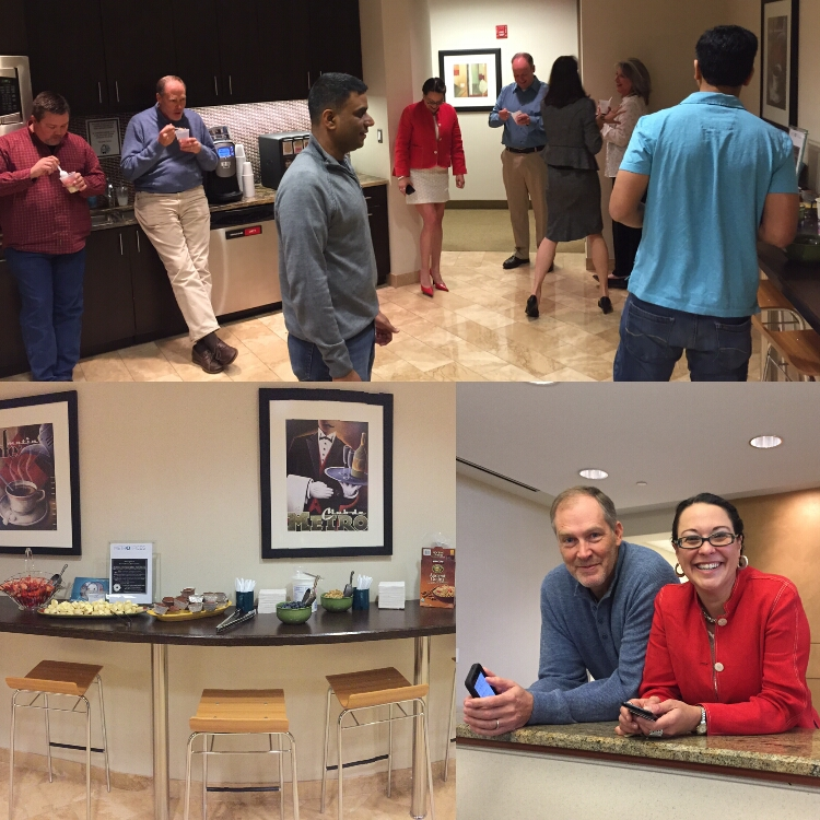 Reston, VA - We celebrated our clients'  April birthdays at our Reston Office Space with fresh fruit, granola and yummy yogurt parfaits.