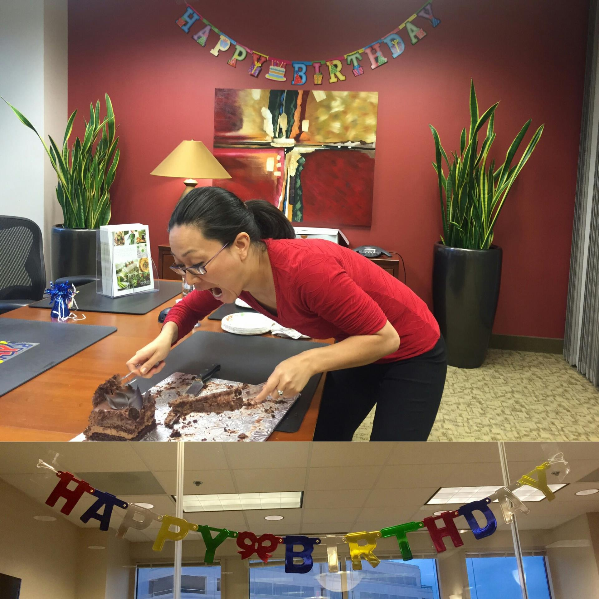 Reston, VA - Reston Metro Offices would like to thank Windows Catering for donating the delicious chocolate mouse cake to celebrate June birthdays! As you can see it was a hit!