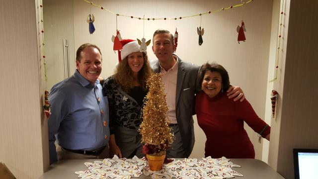 Fairfax, VA - Festive Fairfax VA...Metro Offices Staff and client Scott Franklin enjoy the Holiday Season in our shared workspace. Our flexible work environment encourages networking and good times..