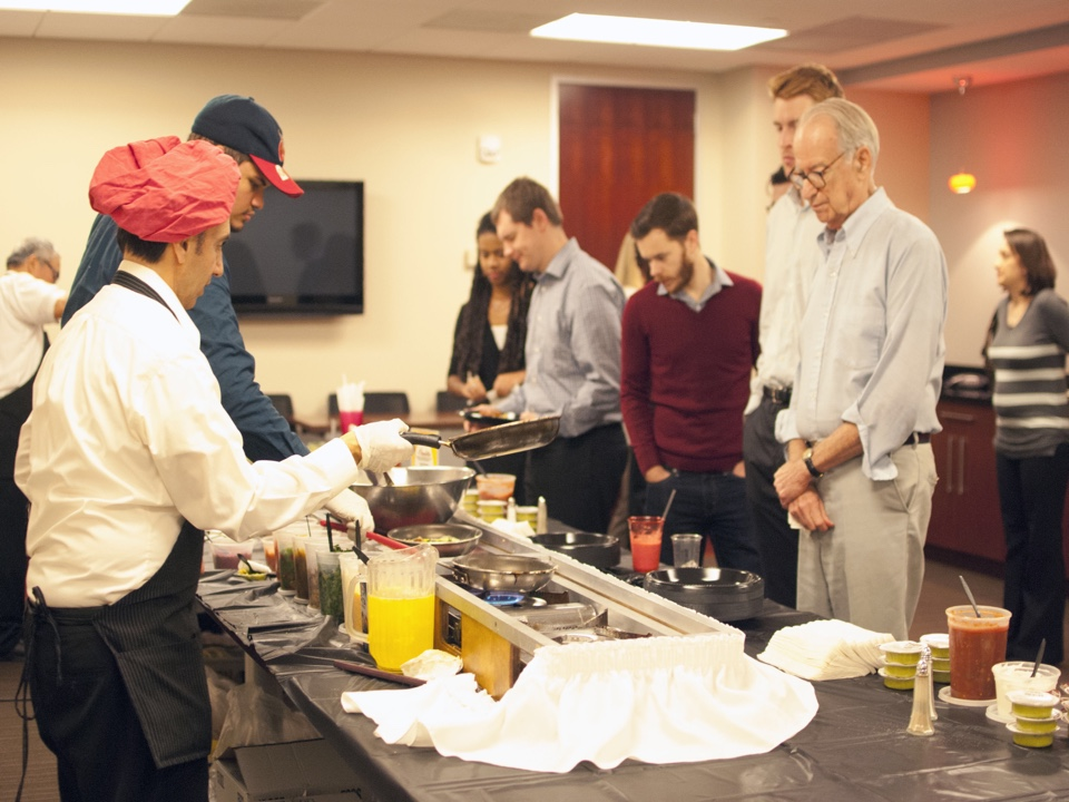 Washington, DC - Clients at our Farragut office space in DC enjoyed a delicious holiday breakfast of made-to-order omelettes, bagels, and smoothies!